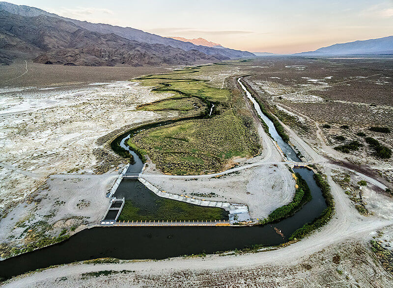 Jennifer Little - The Owens River and LA Aqueduct Diverge at the Aqueduct Intake, Owens Valley, CA