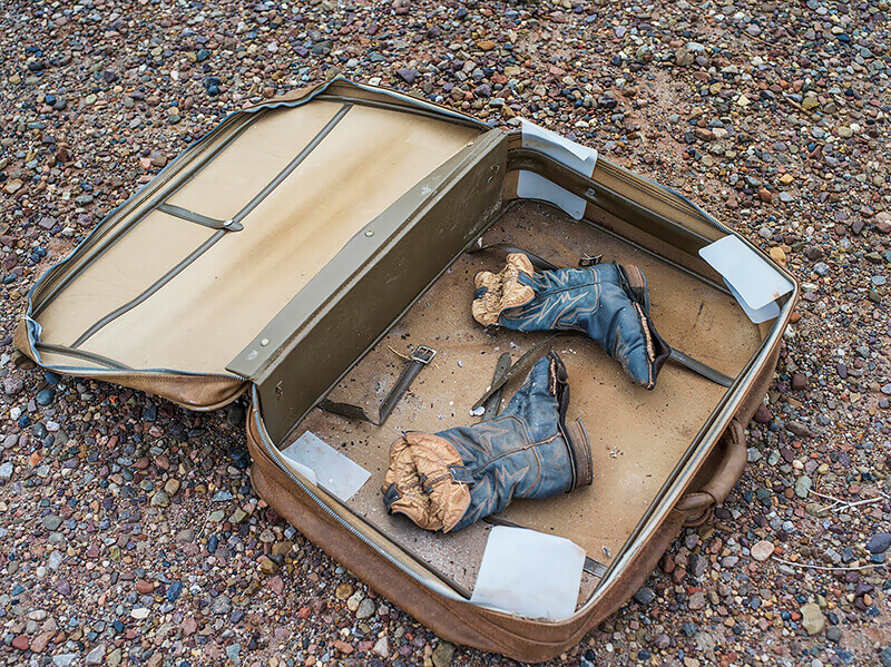 Greta Pratt - Boots in a Suitcase, from the series 'A Cloud of Dust'