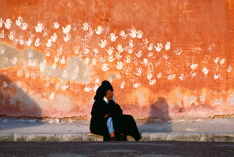 Bruno Barbey - Hands, a symbol of good luck, on a wall in Essaouira, Morocco. 1985.
