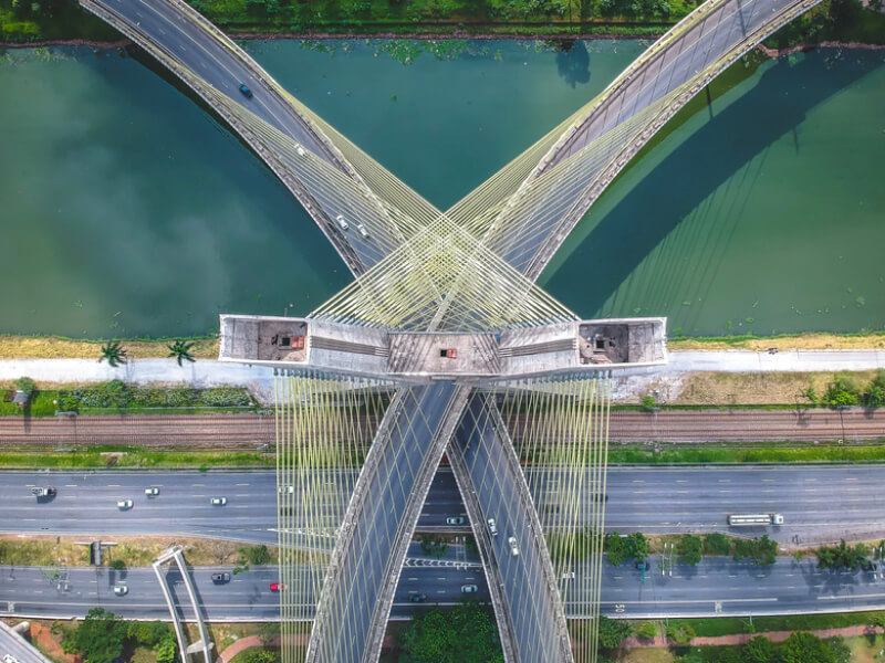 drone photography bridge