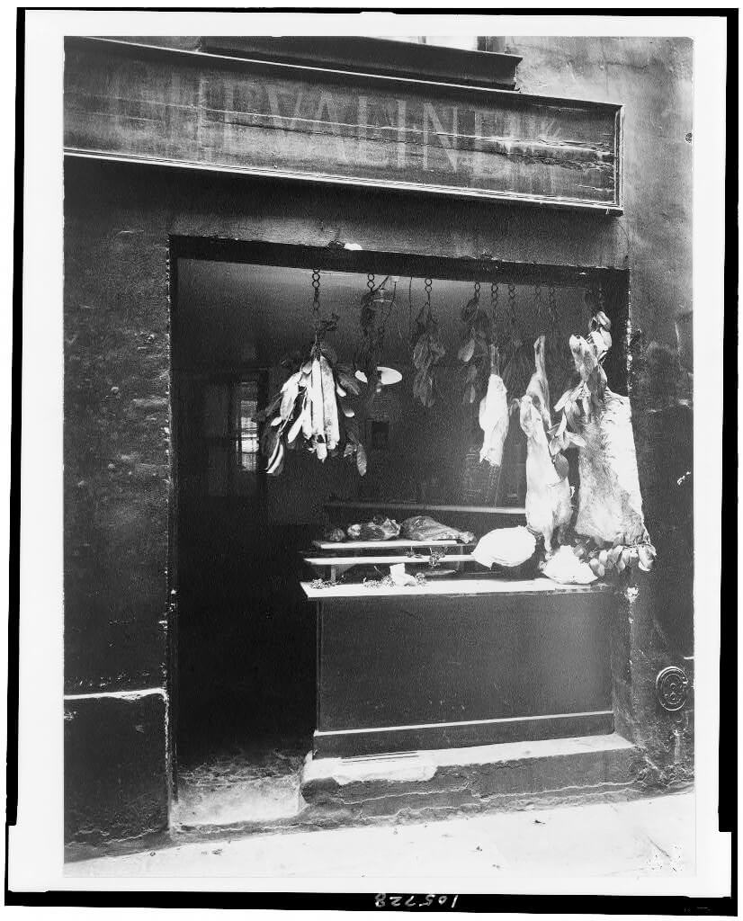 Boucherie, Rue Christine, between 1895 and 1927, printed 1956<p>© Eugène Atget</p>