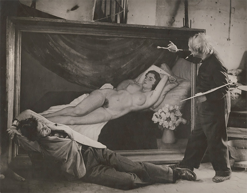 George Brassaï - Picasso Posing as the Artist with Jean Marais as His Model, 1944
