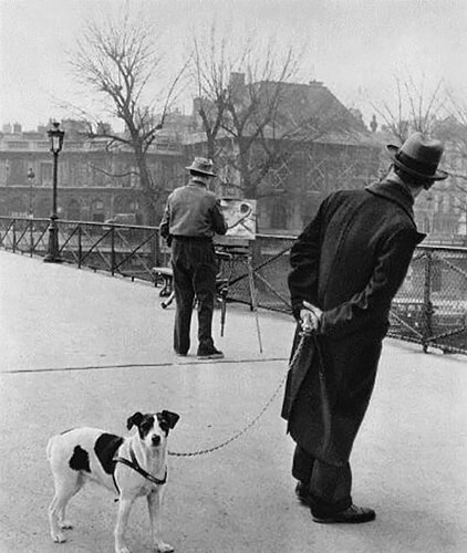 Robert Doisneau - Fox terrier on the Pont des Arts (1953)