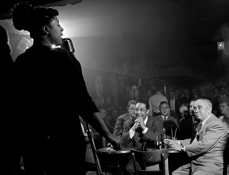 Ella Fitzgerald, Duke Ellington, Benny Goodman, Downbeat Club, 52nd St., NYC, 1948<p>© Herman Leonard</p>