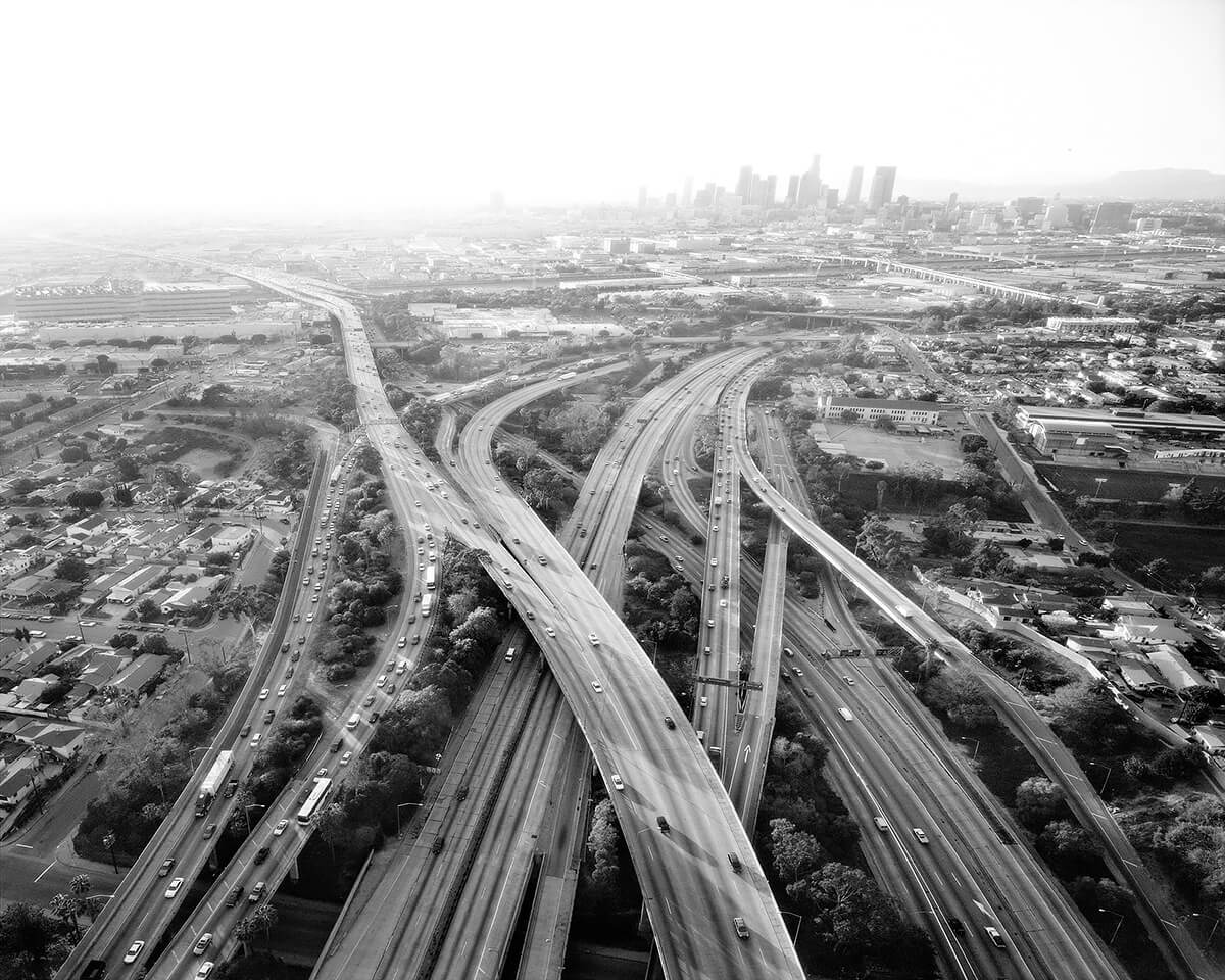 Highways 5,10,60 and 101 Looking West, Los Angeles, 2004<p>© Michael Light</p>