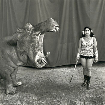Mary Ellen Mark - Hippopotamus and Performer, Great Rayman Circus, Madras, India, 1989