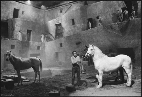 Mary Ellen Mark - Readying the horses for the next take, Fellini