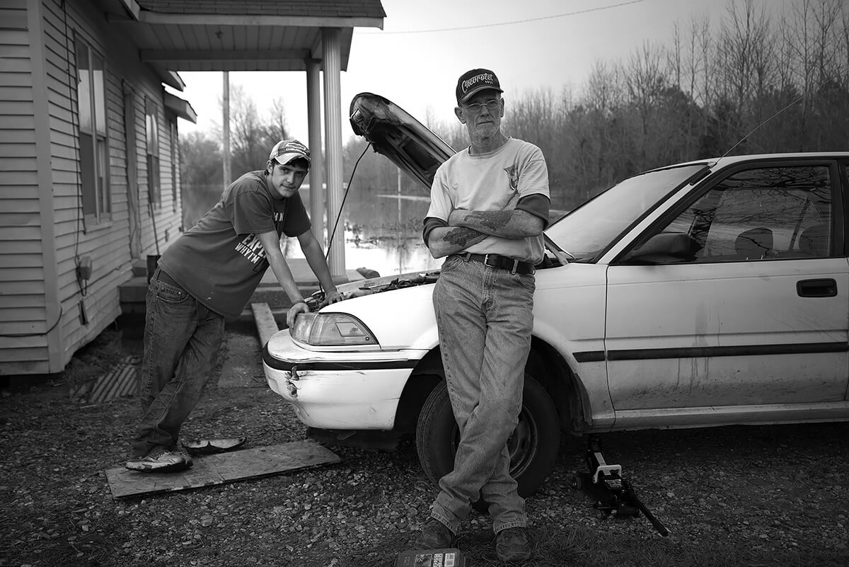 Rebecca Moseman - Grandfather and grandson, mississipu flood