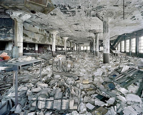 Yves Marchand & Romain Meffre - Detroit Public Schools Book Depository, The ruins of Detroit 2007