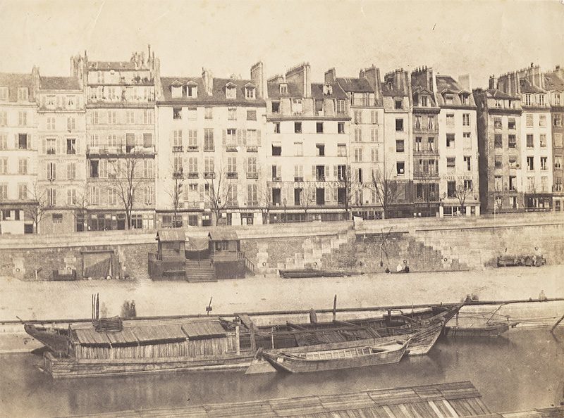 Charles Nègre - Boats along Paris Quai, Paris, 1852c