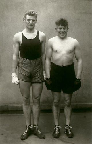 Boxers, Paul Röderstein and Hein Hesse, Cologne, c. 1928<p>© August Sander</p>