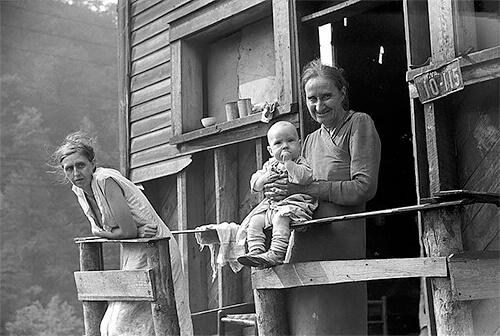 Marion Post Wolcott - The mother, wife and child of an unemployed coal miner. 1938 ©Library of Congress