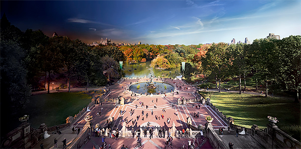 Day to Night, Bethesda Fountain, Central Park, New York City 2011<p>© Stephen Wilkes</p>