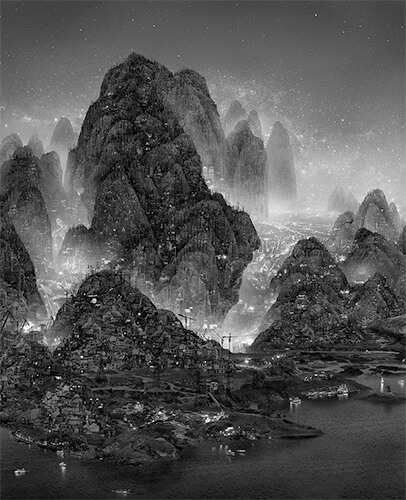 Yang Yongliang - Wintery Forest in the night 2014 ©Yang Yongliang / courtesy Galerie Paris-Beijing